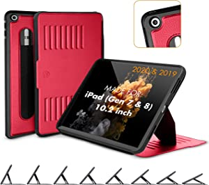 ZUGU CASE (2020/2019) Muse Case for iPad 7th / 8th Gen 10.2 Inch Protective, Thin, Magnetic Stand, Sleep/Wake Cover - Red (Fits Model #s A2197 / A2198 / A2200 / A2270 / A2428 / A2429 / A2430)