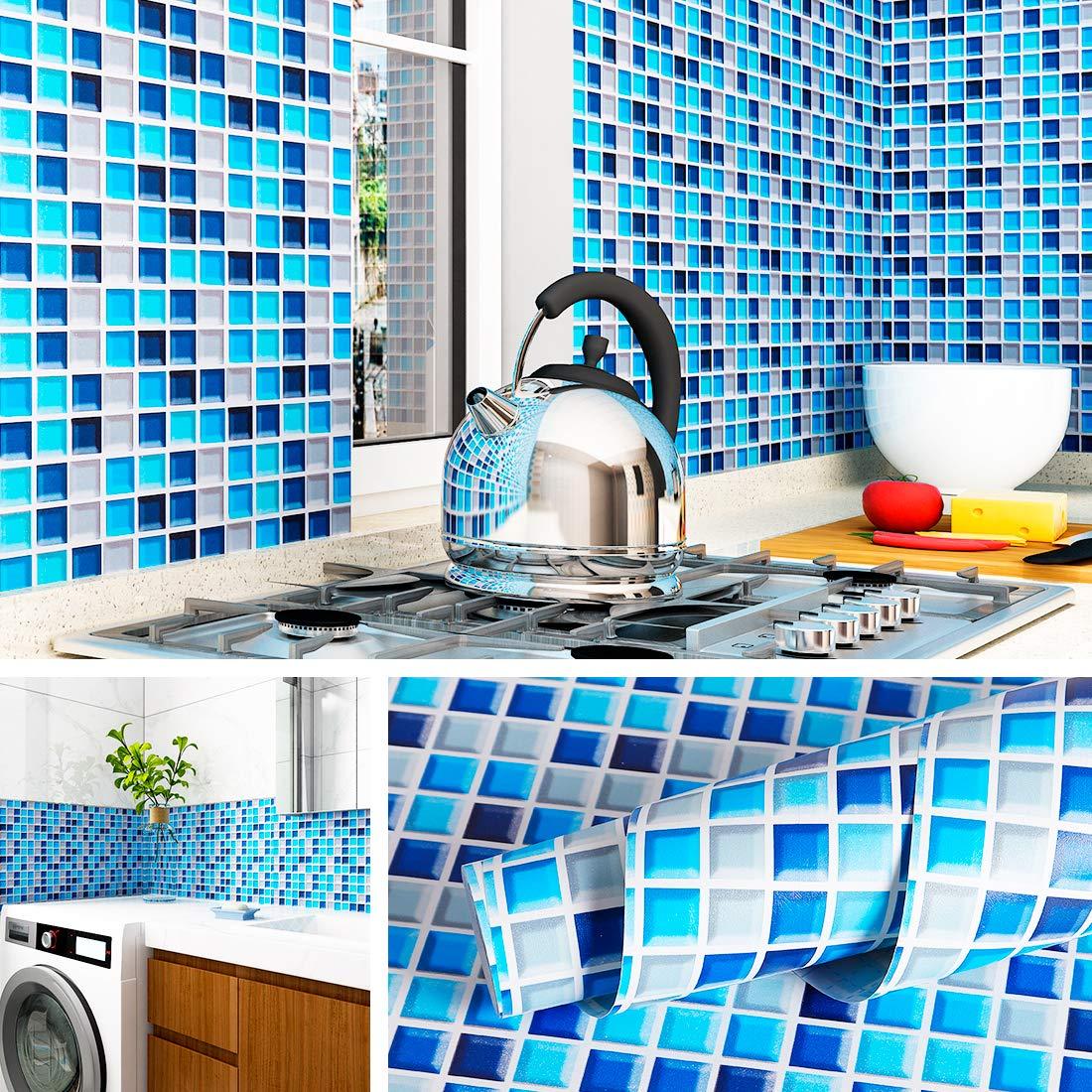Livelynine Kitchen Wallpaper Peel And Stick Backsplash 17 7x276 Inch Blue Mosaic Wall Paper Decorations Bathroom Backsplash Waterproof Removable Buy Online In Dominica At Dominica Desertcart Com Productid 146670839