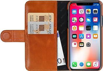 StilGut Custodia per Apple iPhone X/iPhone XS a Portafoglio in Pelle, Cognac