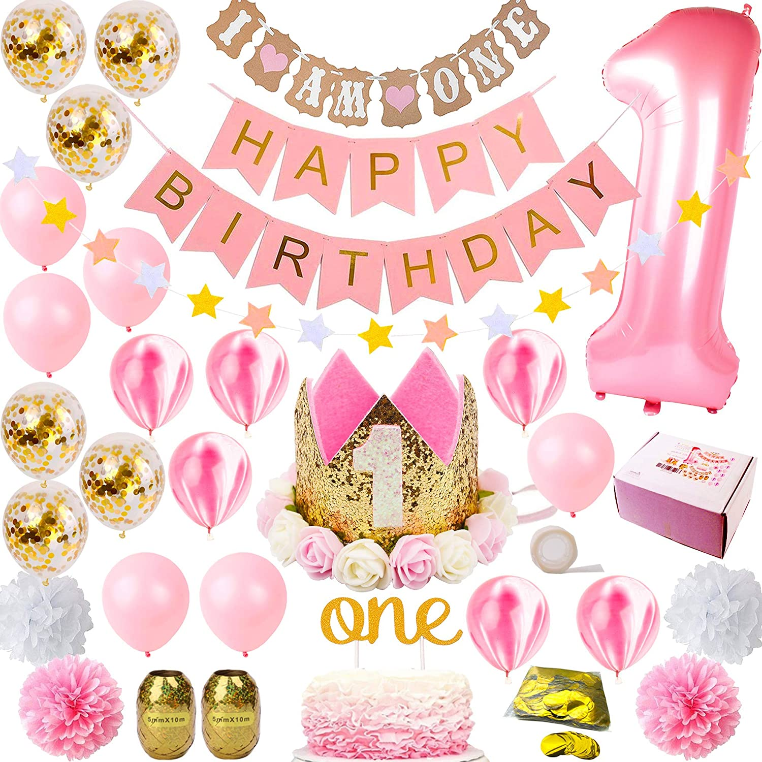 FunDeco Party 1st Birthday Decorations for Girl Mega Set | Princess Pink and Gold Girls Theme Kit | First Bday 1 Year Tiara Crown Hat, Cake Topper, Balloons, Happy Birthday Banner, More Decor Supplies