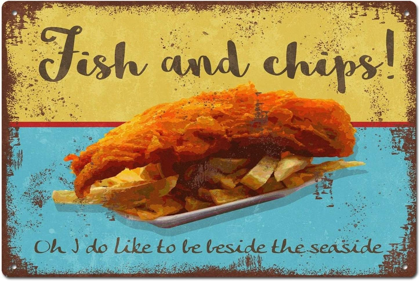 Fish and Chips Seaside Vintage Retro Tin Sign Metal Sign Door Plaque TIN  Sign 19.19X19.19 INCH
