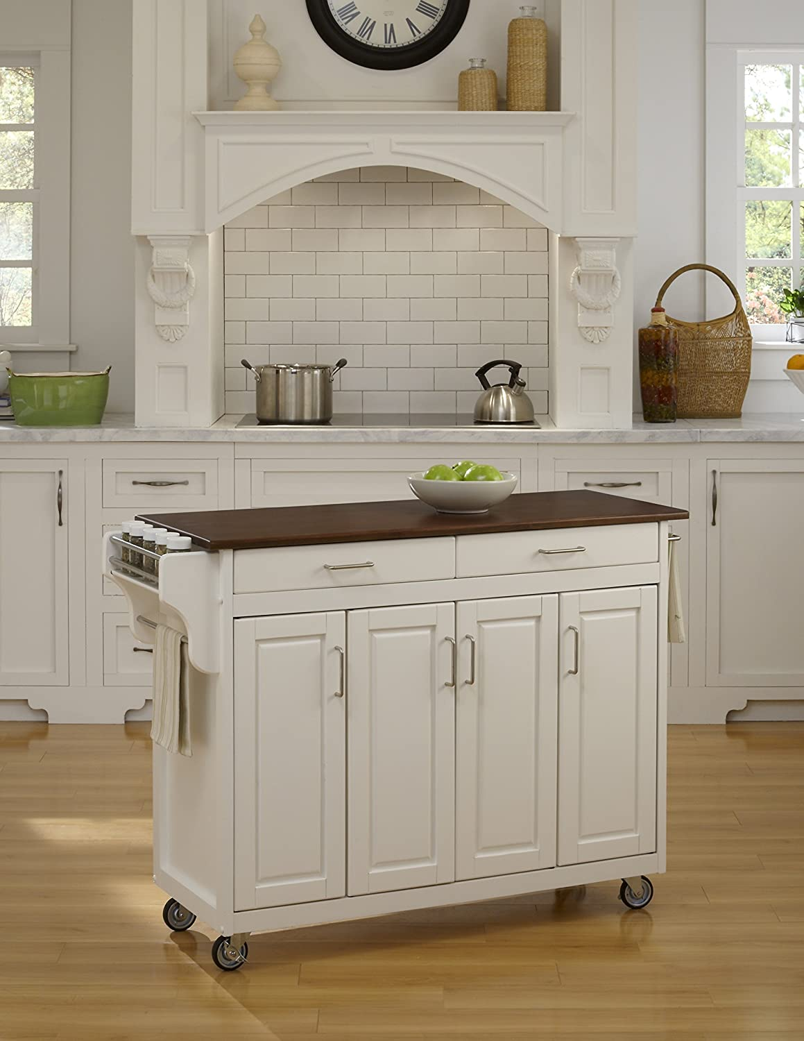 Create-a-Cart White 4 Door Cabinet Kitchen Cart with Cherry Top by Home Styles