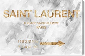 The Oliver Gal Artist Co. Fashion and Glam Wall Art Canvas Prints '19948 Saint Sulpice Road Sign Marble' Home Décor, 36