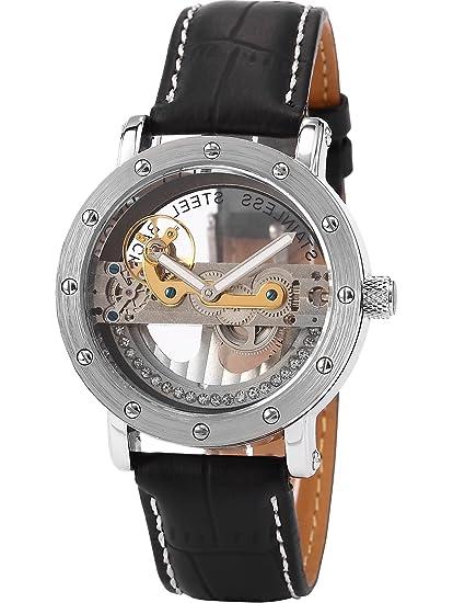 EASTPOLE PMW150 - Reloj Skeleton Hombre Mecš¢nico, Correa de Cuero Negro: Amazon.es: Relojes