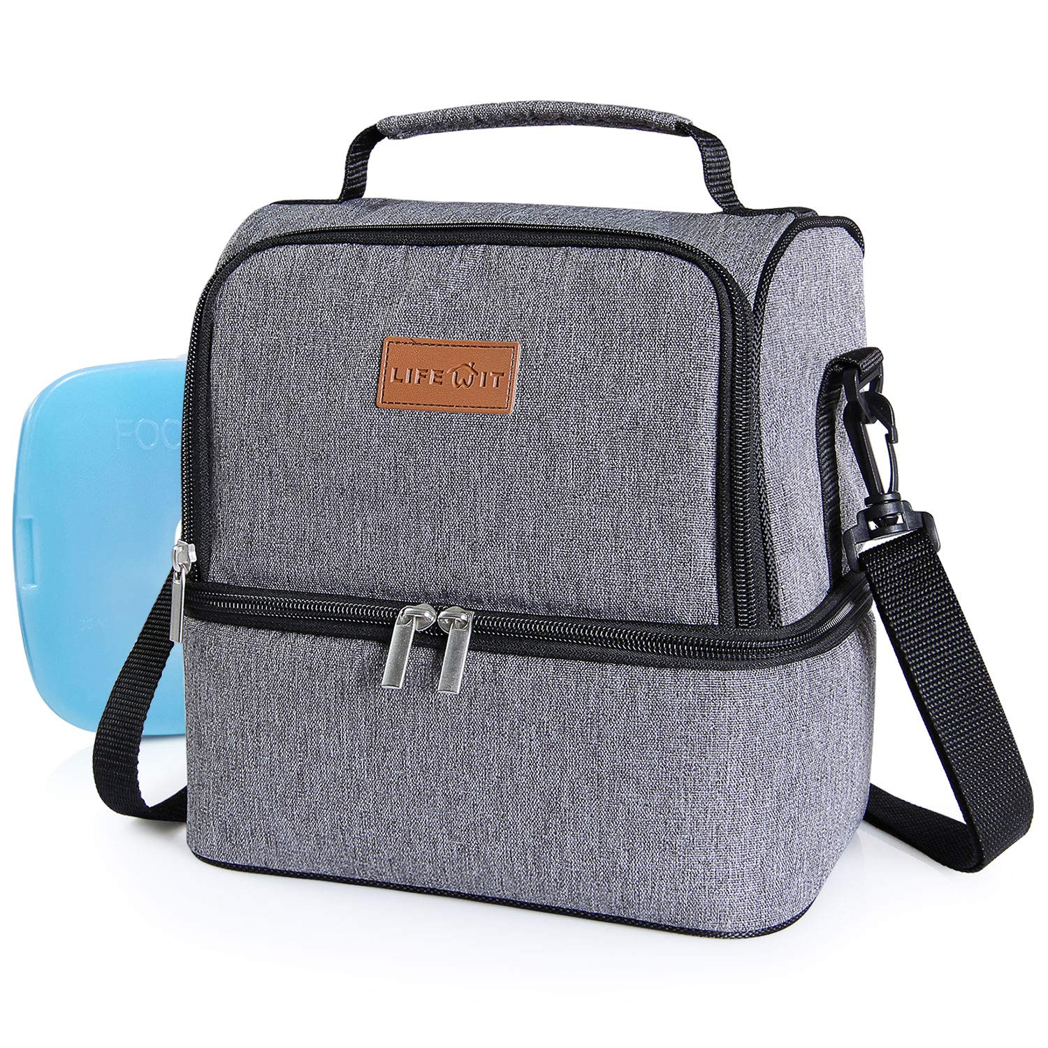 Lifewit Insulated Lunch Box Lunch Bag for Adults/Men/Women/Kids, Water-Resistant Cooler Lunchbag for Work/School/Meal Prep, Double Section, 7L, Grey [ with Blue Ice Pack ]