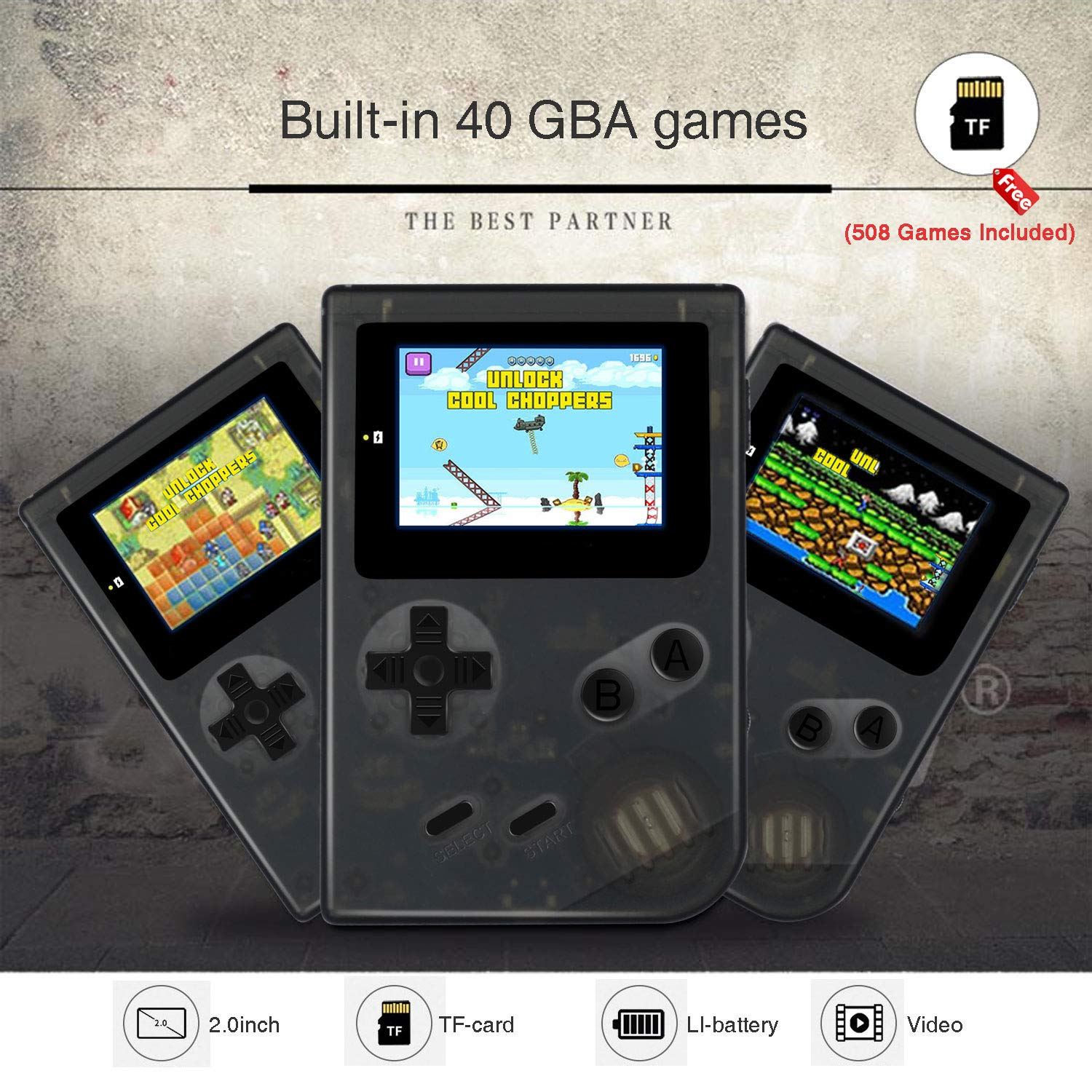 MJKJ Handheld Game Console , Retro Game Console 2 Inch HD Screen 548 Classic GBA Games , Birthday Presents for Children - Transparent Black by MJKJ (Image #3)