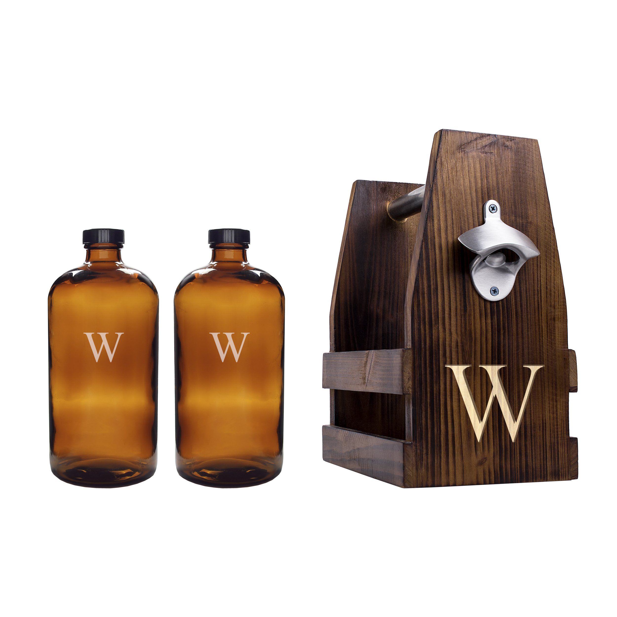 Cathy's Concepts Personalized Rustic Craft Beer Carrier with Two Bullet Growlers, Letter W