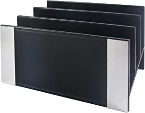 Architect Line Leather-Like Letter Sorter, Black with Brushed Metal & Matching Black Stitching and Velvet-Like Lining