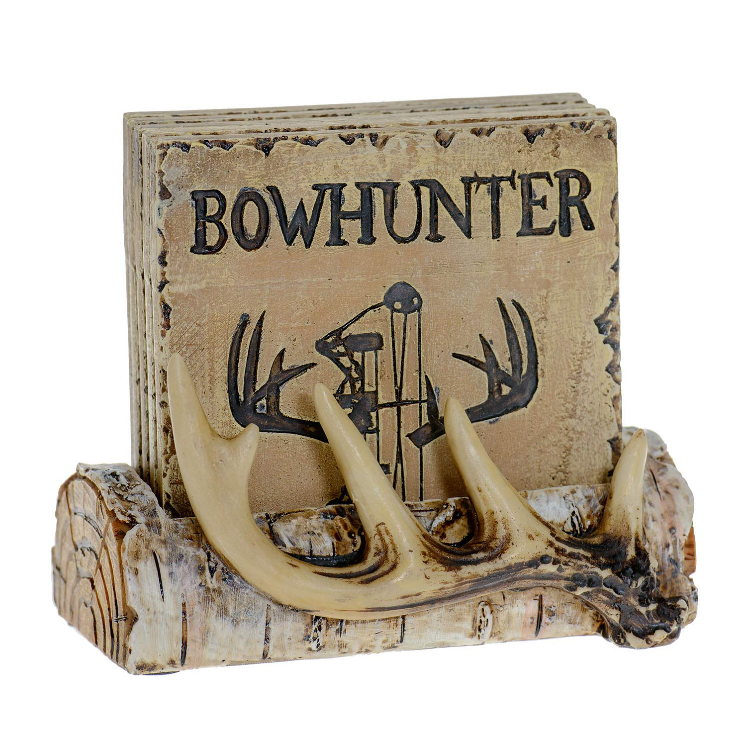 Pine Ridge Home Antler Wood Log Coaster Set with Holder - Bow Hunter Country Absorbent Coaster Decor - Cabin Lodge Home Decor for Hunter Men - Man Cave Coasters Rustic Wood Home Decor Accent