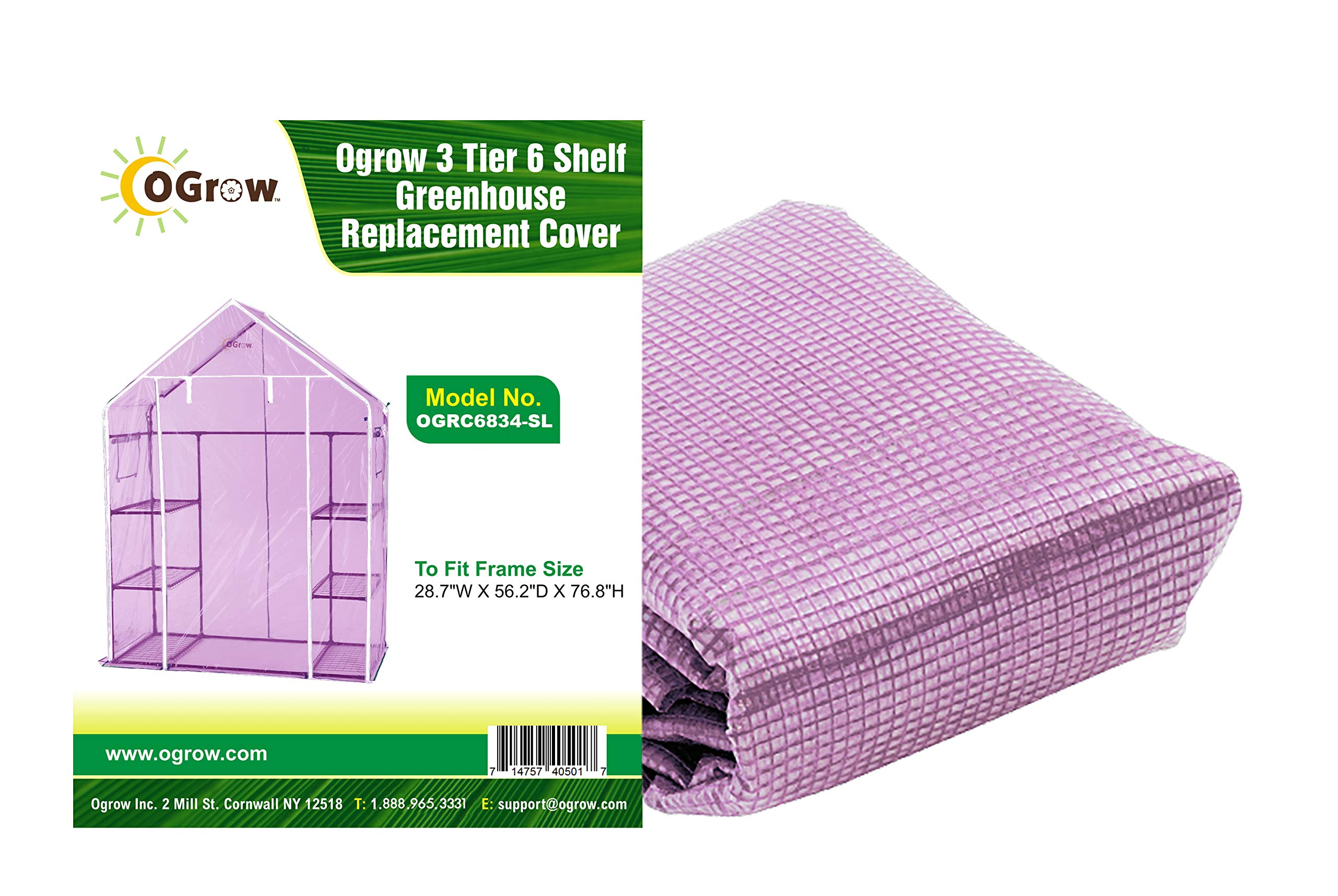 OGrow OGRC6834-S Lilac Greenhouse Replacement Cover, Fit for Frame Size 28.7'' w X 56.2'' d X 76.8'' h