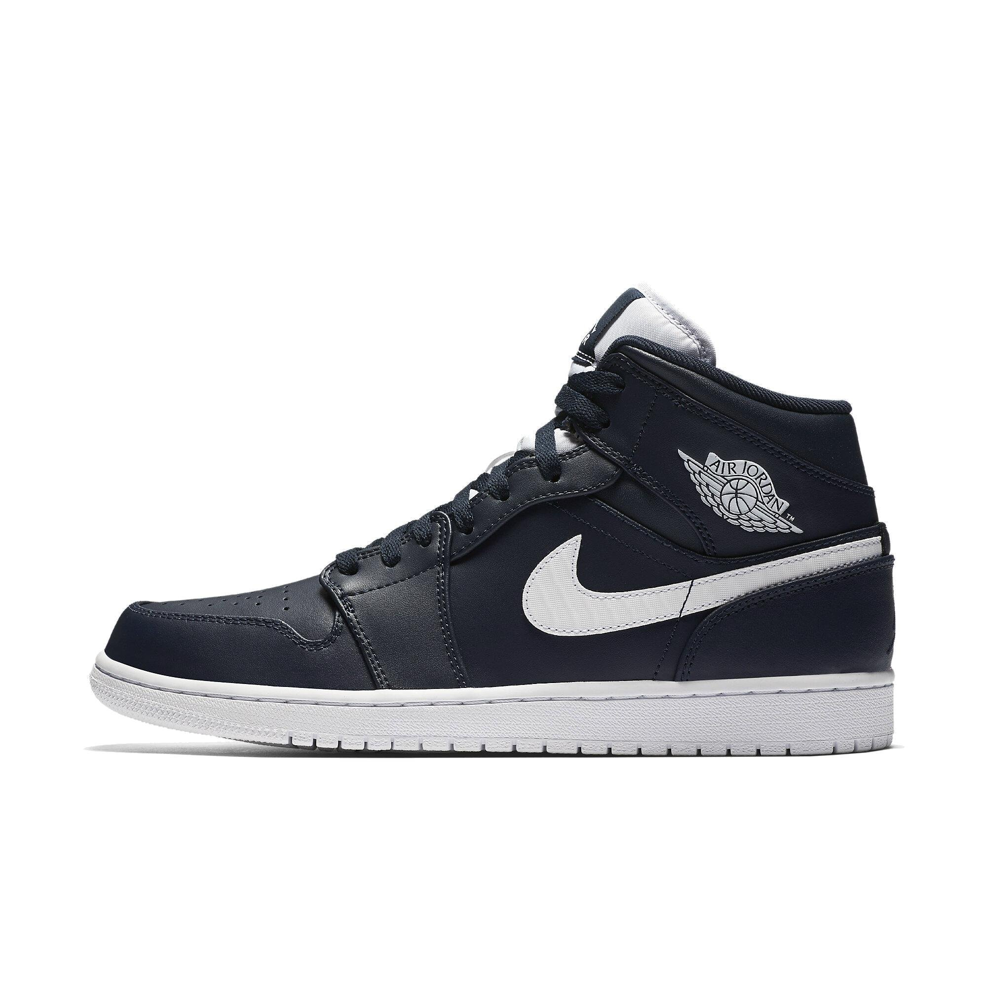 554724-402 MEN AIR 1 MID JORDAN OBSIDIAN WHITE