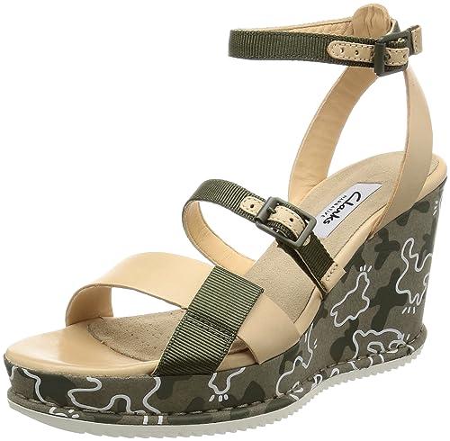 Clarks Adesha Art, Women's Ankle Strap Sandals, Green (Khaki Combi), 4