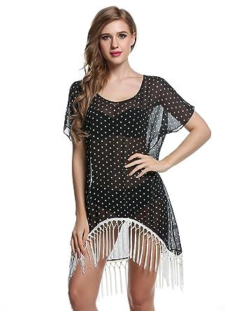 2dcfe5461a Ekouaer Beach Dress Womens Polka Dot Print Swimsuits Cover Up Beachwear ( Black, Small): Amazon.co.uk: Clothing