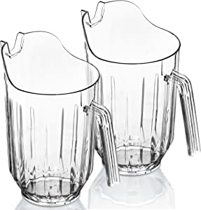 DecorRack 2 Crystal Clear Plastic Pitcher Beverage Dispenser with Pour Spout Shatterproof Catering and Restaurant Serveware for Cold Drinks, Water, Lemonade, Beer, and Sangria, 7 Cup Capacity (2 Pack)