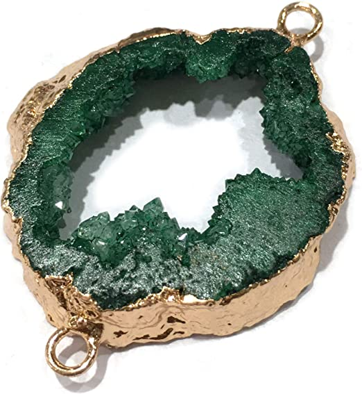 Green Druzy Agate Connector Pendants Gold Plated A334 D