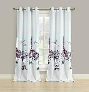 """HowPlumb 2 Window Curtains Grommet Panel Pair Drapes Pink Grey Paris Eiffel Tower 84"""""""