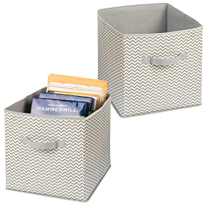 mDesign Juego de 2 cestas de tela con asas ? Grandes cajas organizadoras para papel de