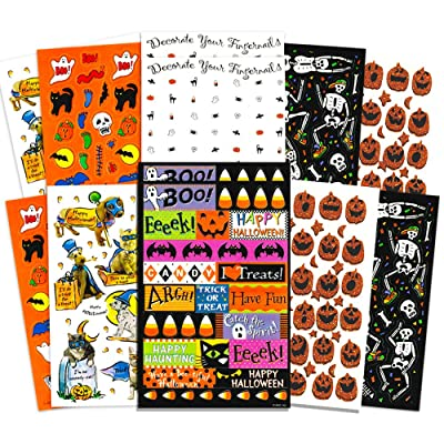 Crenstone Halloween Stickers Party Pack (Over 300 Halloween Stickers, 24 Party Favors Sheets): Toys & Games