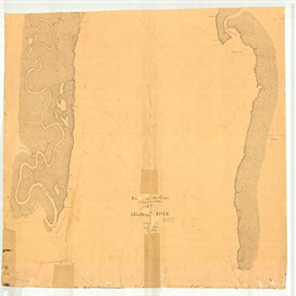 Amazon.com: 18 x 24 Canvas 1842 US old nautical map drawing chart of ...