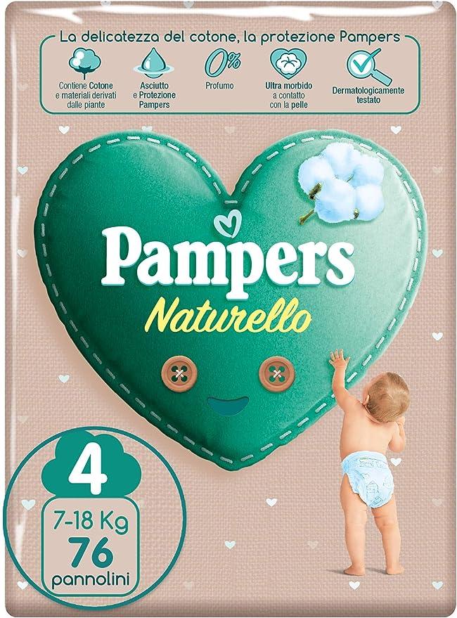 Pampers Naturello, 76 Pannolini Contenenti Cotone e Materiali Naturali Derivanti dalle Piante, 0% Profumo, Taglia 4 (7-18 kg)