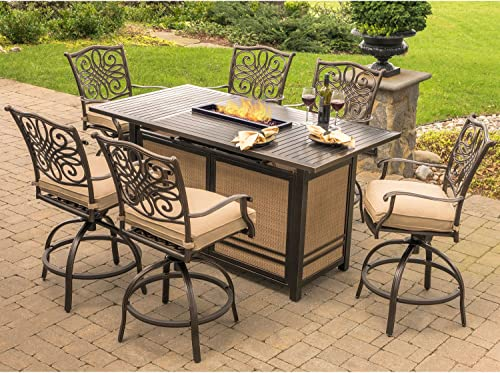 Hanover TRAD7PCFPBR Traditions 7-Piece High-Dining Set