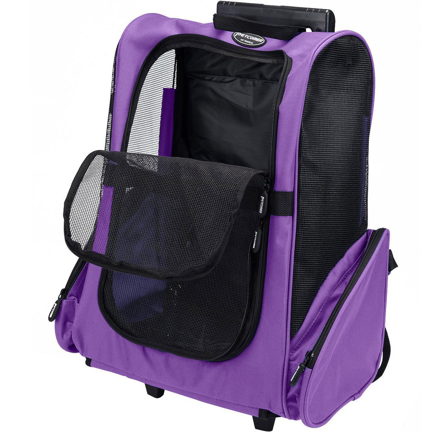 Pettom Roll Around 4-in-1 Pet Carrier Travel Backpack for Dogs & Cats&Small Animals Travel Tote Airline Approved (Small-Hold pet up to 10 lbs, Purple) by Pettom (Image #3)