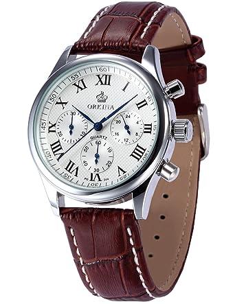 Leder Armbanduhr Herren Braun