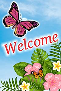 Kool Kangaroo Welcome Flower and Butterfly Double Sided Garden Flag, House Yard Flag, Garden Yard Decorations, Seasonal Outdoor Flag 12 x 18 Inch Gift for Spring Summer and All Seasons