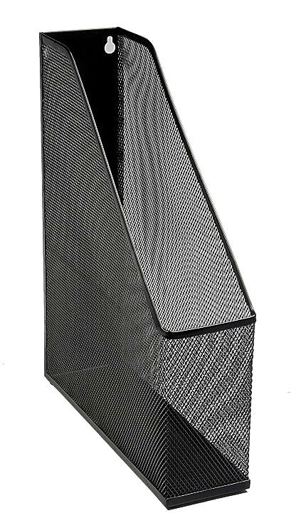 Osco MR1 B - Revistero archivador (resistente a arañazos, A4+, incluye protector de goma), diseño de malla, color negro