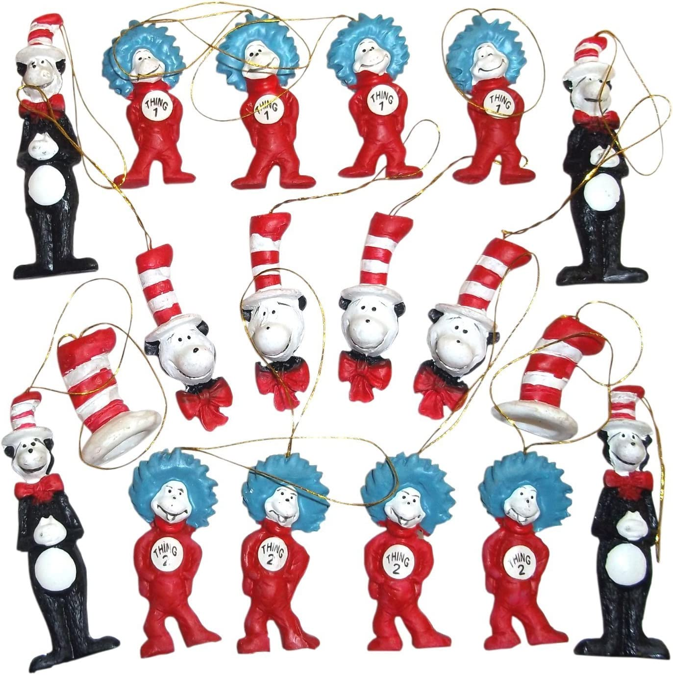Dr. Seuss The Cat in the Hat Figurine Ornaments, Set of 18