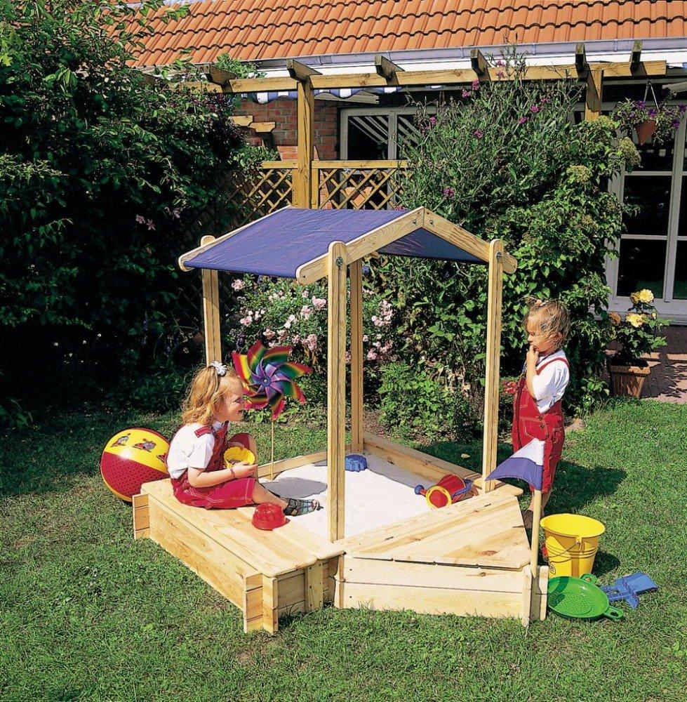 Holz-Sandkasten Peter mit Sitz-und Bugbox Kiefernholz natur Sandkiste