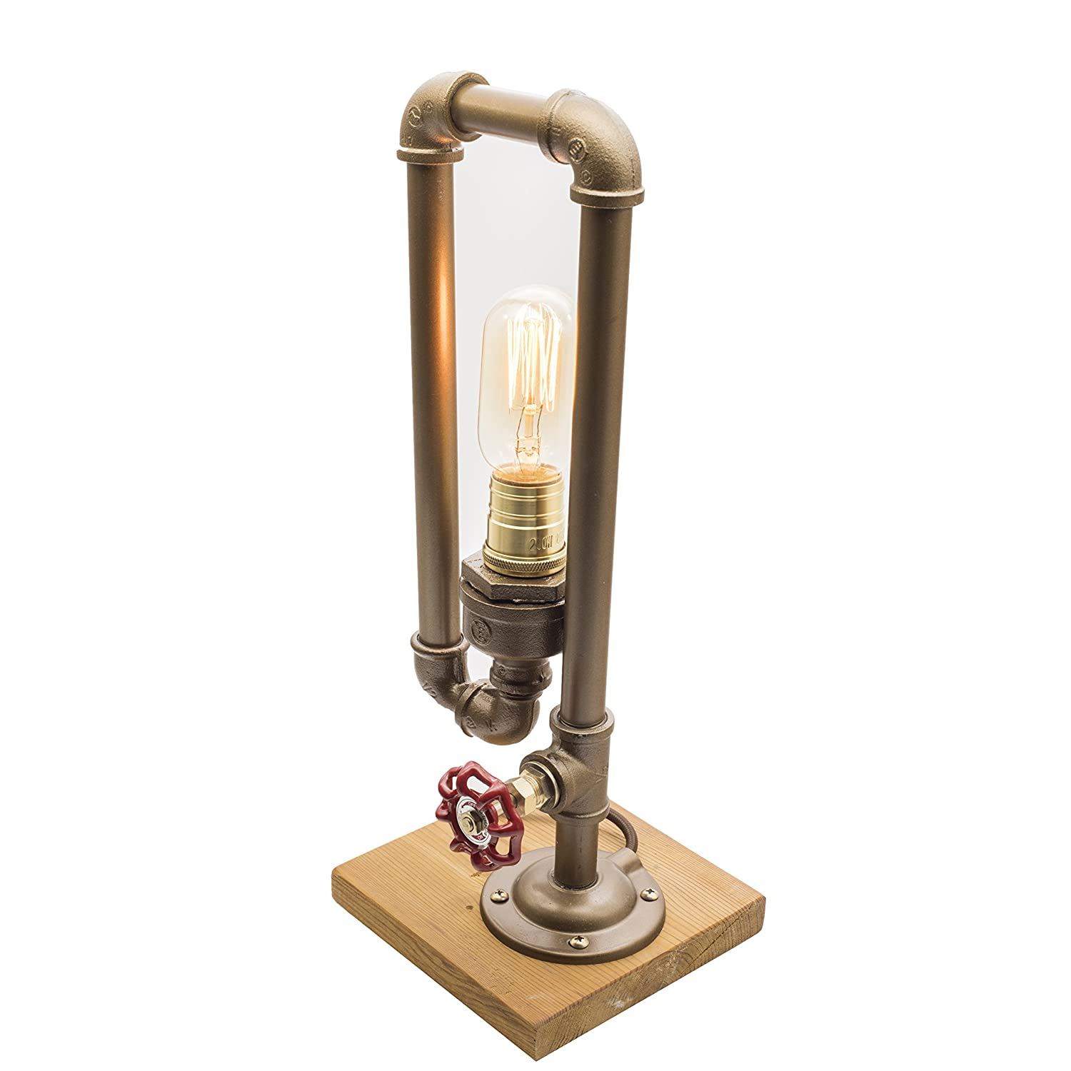 Y Nut Loft Style Lamp The Thinker Steampunk Industrial Vintage Wood Base Metal Body Table Desk Light With Dimmer LL 001