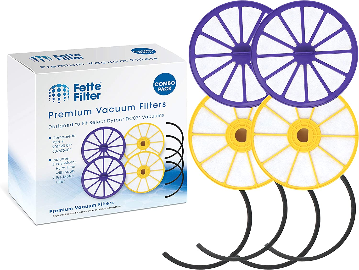 Fette Filter - Pre-Motor Filter & Post-Motor HEPA Filter Compatible with Dyson DC07. Compare to Part # 901420-02 & 904979-02 - Combo Pack (Pack of 2)