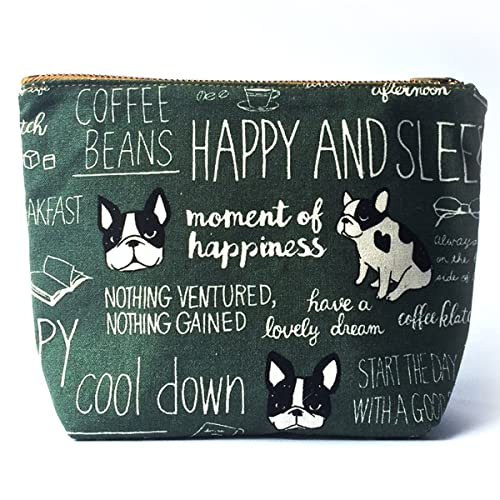 166a1fbf9e0 Bulldog Canvas Makeup Bag • Cute Cosmetic Pouch, Gifts for dog lovers, Toiletry  Bag, Zipper Pouch, Organizer: Amazon.co.uk: Handmade