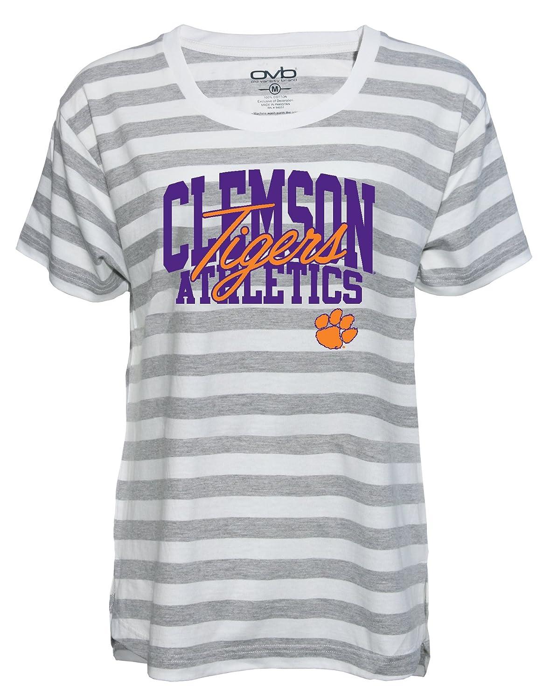 White Gray Old Varsity Brand NCAA Clemson Tigers Womens Plus Striped Gameday T-Shirt 1X