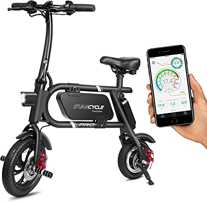 SwagCycle Pro Folding Electric Bike, Pedal Free and App Enabled