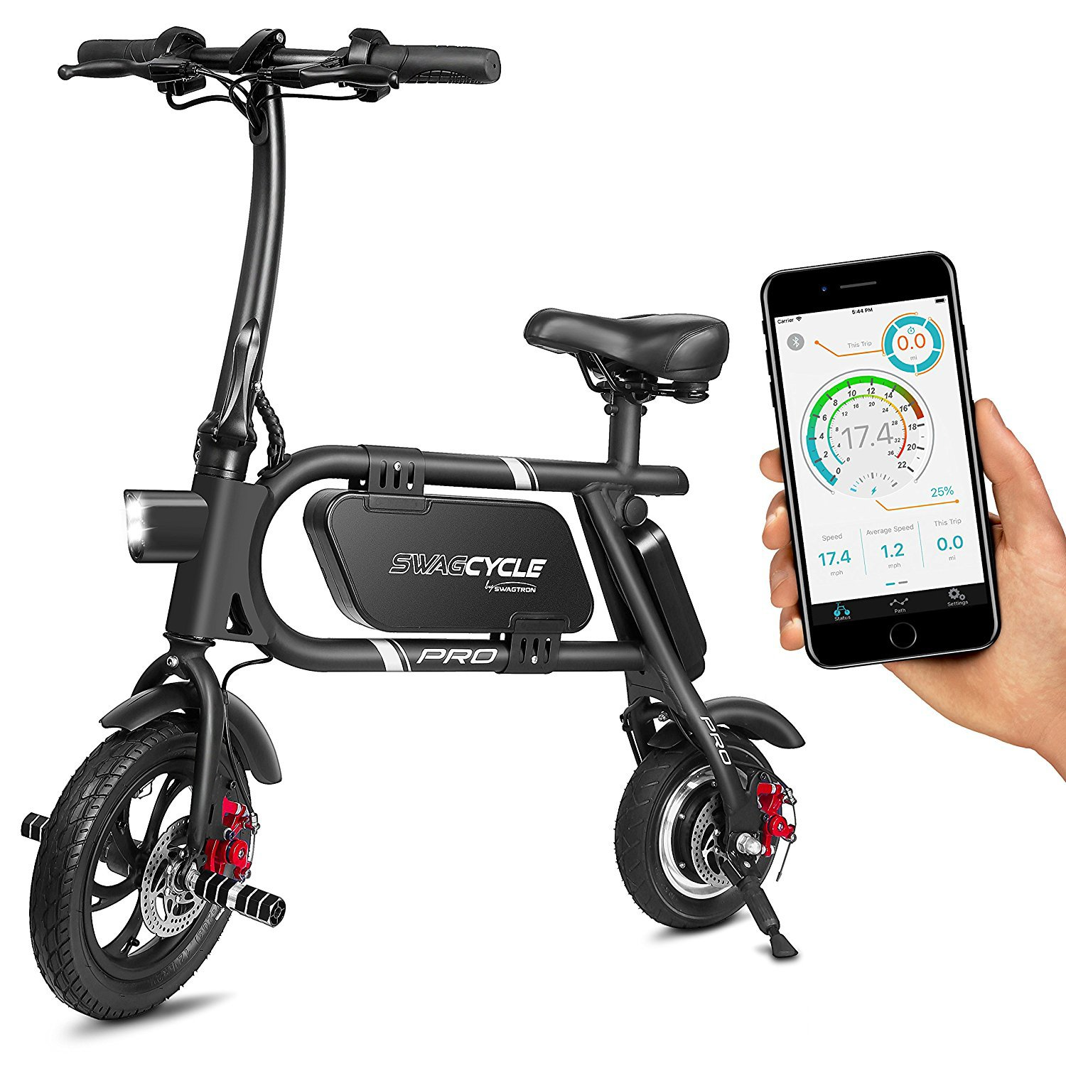 SwagCycle Pro Folding Electric Bike, Pedal Free and App Enabled, 18 mph E Bike with USB Port to Charge on The Go (Black) by Swagtron