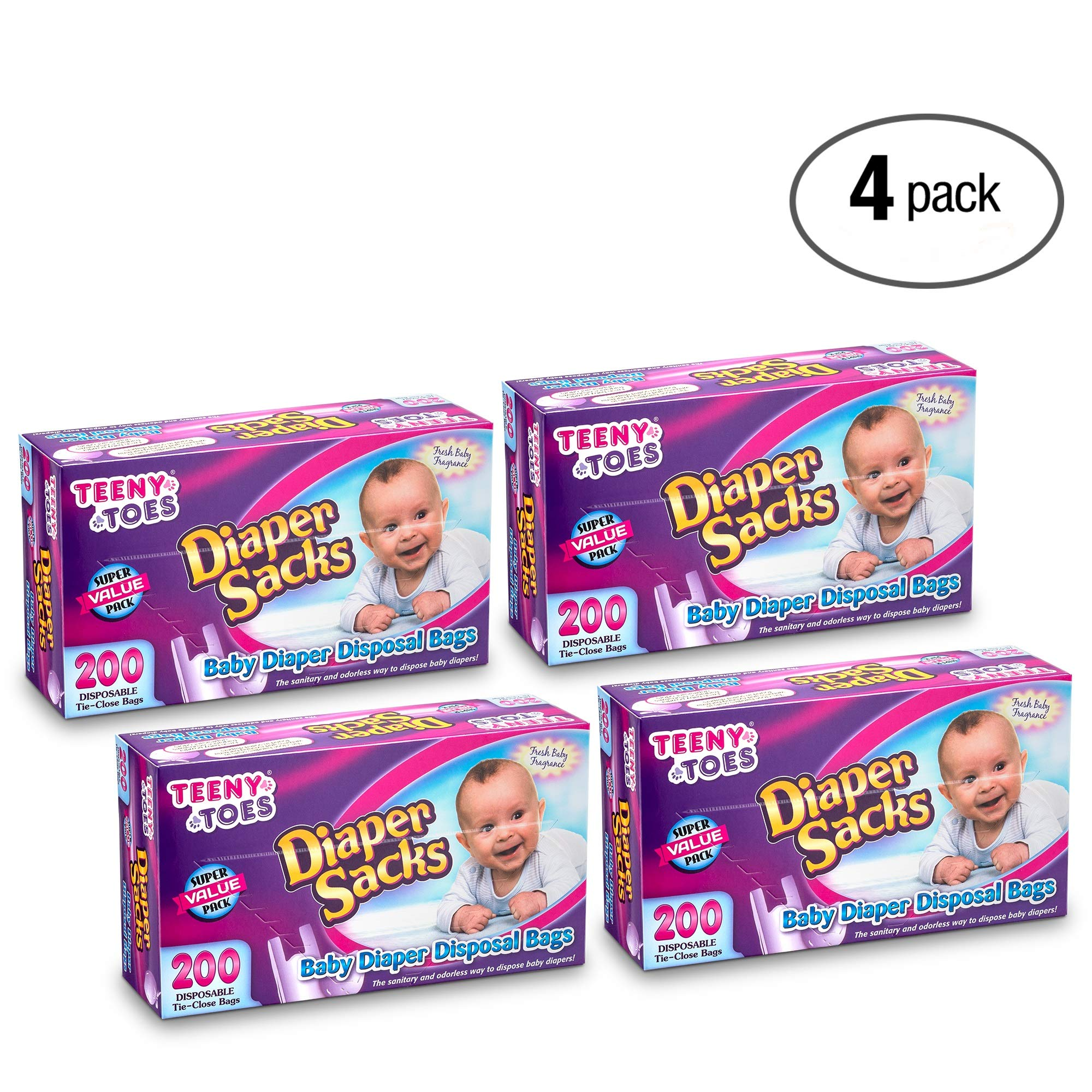 Teeny Toes Baby Disposable Diaper Sacks, 200 Count Pack Of 4 (800 Bags Total)