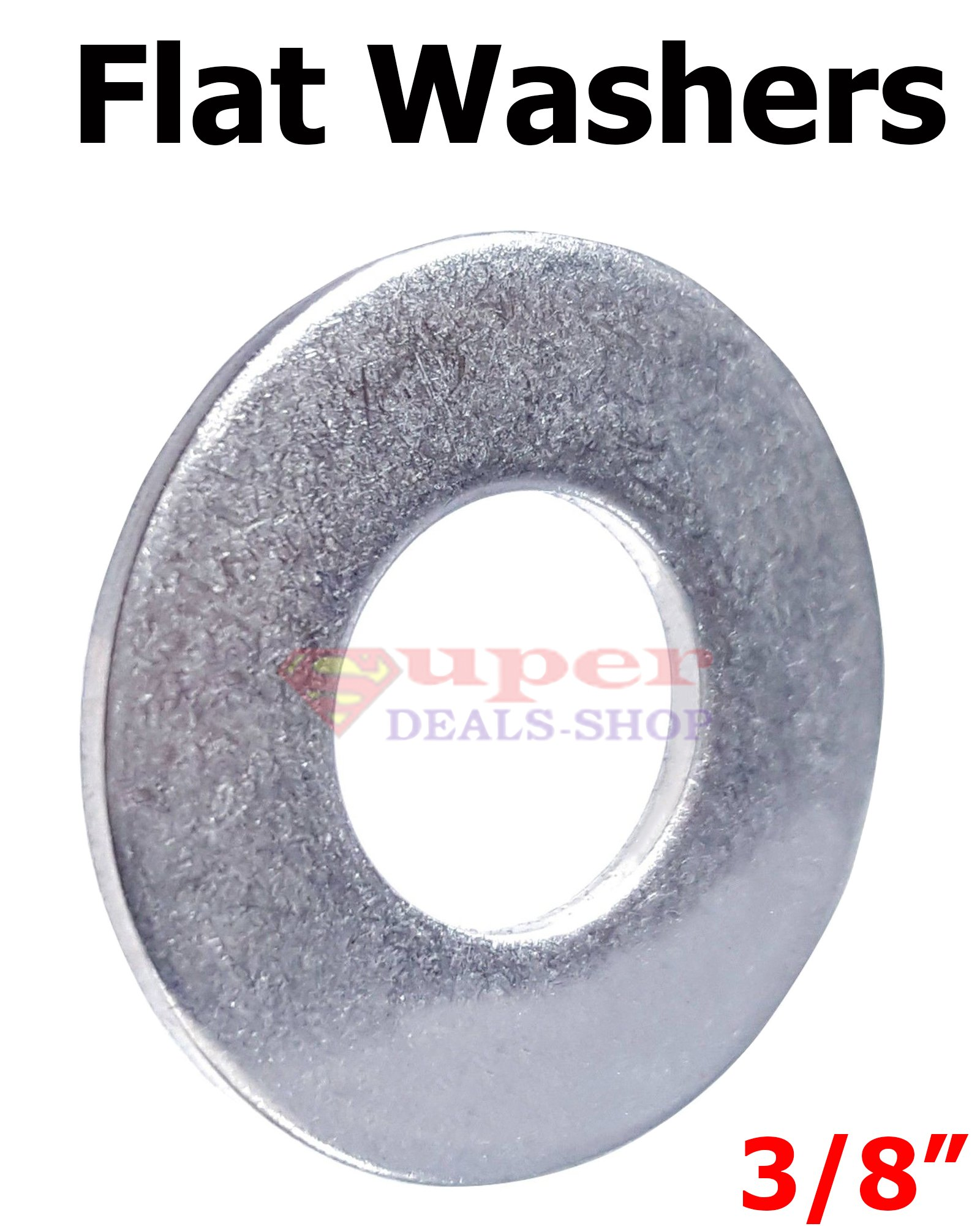 250 Pcs 3/8'' Stainless Steel Flat Washers SS Flat Washer Flats Super-Deals-Shop
