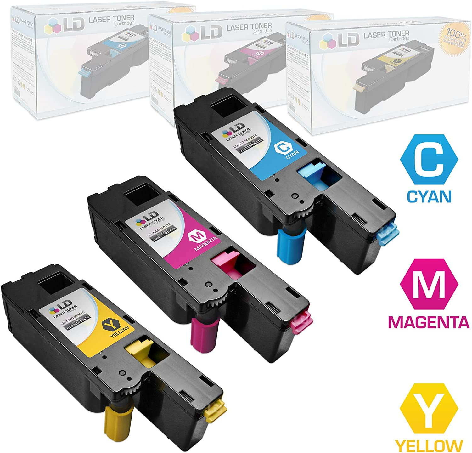 LD Compatible Toner Cartridge Replacement for Dell Color Laser C1660w (Cyan, Magenta, Yellow, 3-Pack)