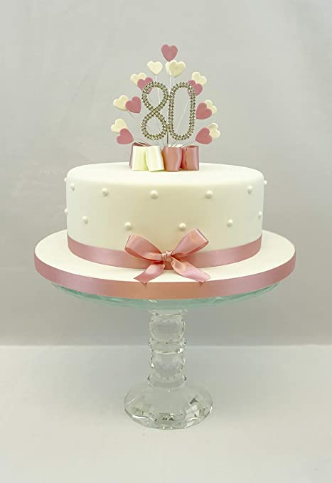 Sensational Cake Topper Heart Burst Spray Diamante 80Th Birthday Vintage Pink Funny Birthday Cards Online Alyptdamsfinfo