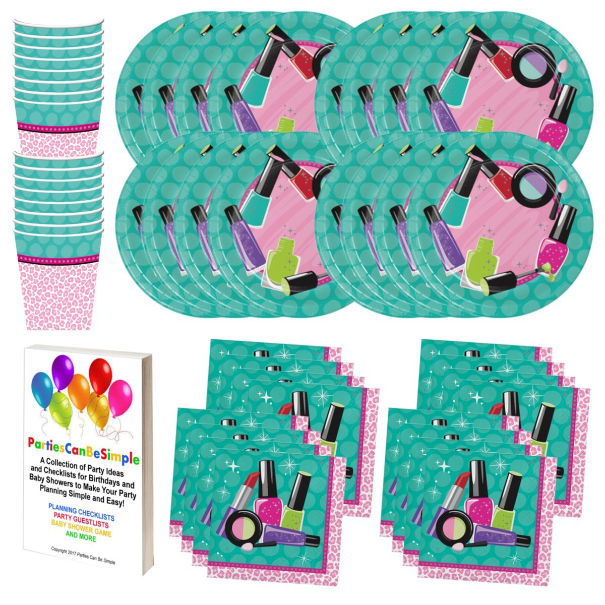 Makeup Spa Salon Birthday Party Supplies Set Plates Cups Napkins Tableware Kit for 16 Guests by PCBS