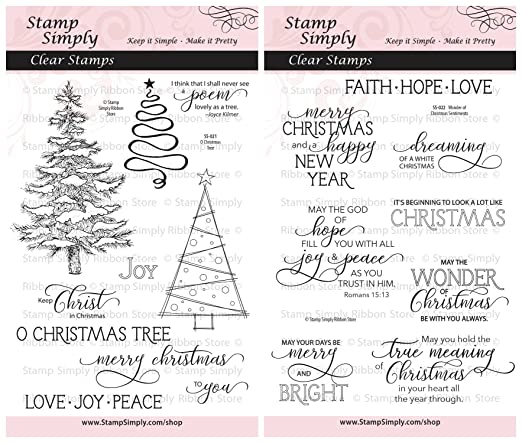amazoncom stamp simply clear stamps group of 2 sets o christmas tree and wonder of christmas sentiments 4x6 sheets 18 pieces arts crafts sewing - What Is The Meaning Of The Christmas Tree