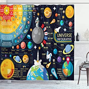 Ambesonne Outer Space Shower Curtain, New Horizons of Solar System Infographic Pluto Venus Mars Jupiter Skyrocket, Cloth Fabric Bathroom Decor Set with Hooks, 70