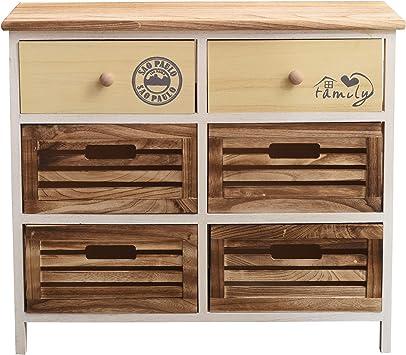 Cod. RE4552 Rebecca Mobili Meuble de Rangement Commode 3 Tiroirs Bois Gris Vintage Shabby Chambre Salle de Bain