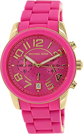 292b06230ba3 Image Unavailable. Image not available for. Color  Michael Kors Women s  MK5890 Chronograph Mercer Pink Silicone Chronograph Watch