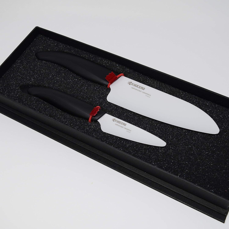 Kyocera Revolution - Juego de 2 cuchillos de cerámica (pelador y Santoku) blanco
