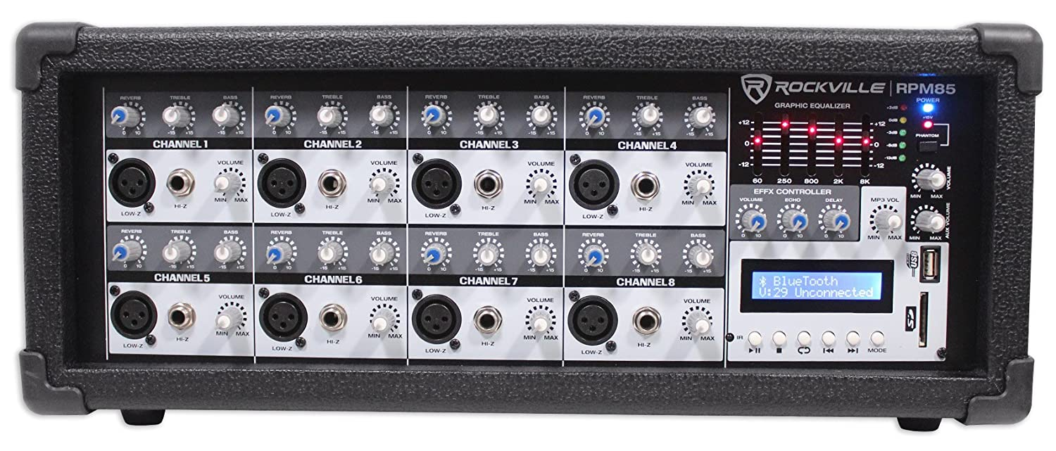 Rockville RPM85 2400w Powered 8 Channel Mixer, USB, 5 Band EQ, Effects/Bluetooth RPM85 AMP