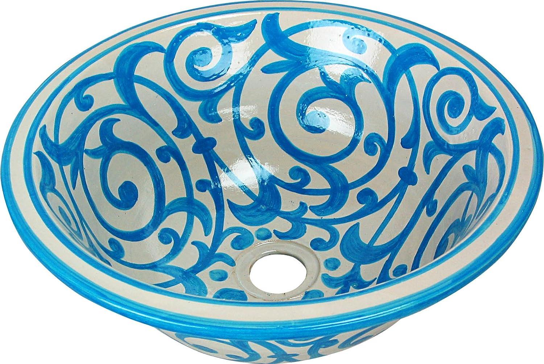 Pintado Desde Dentro hacia Fuera Di 40cam Altura: 16cm Casa Andaluz Lavabo de ba/ño marroqui de Ceramica de FES//Azrou Color Azul Turquesa Pintado a Mano Circular