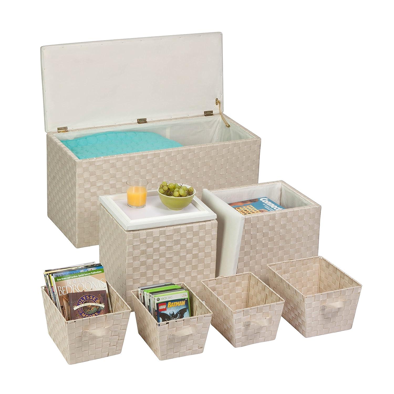 Amazon.com: Honey Can Do 7 Piece Ottoman Storage Set, Cream: Home U0026 Kitchen